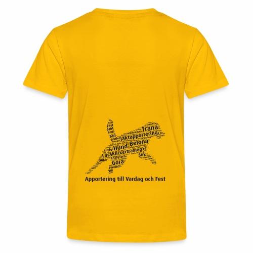 Apportering till vardag och fest wordcloud svart - Premium-T-shirt tonåring