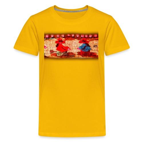Dos Paisanitas tejiendo telar inca - Teenage Premium T-Shirt