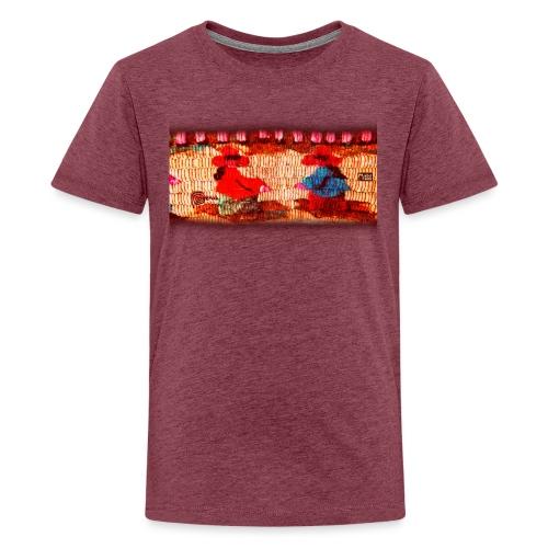 Dos Paisanitas tejiendo telar inca - Camiseta premium adolescente