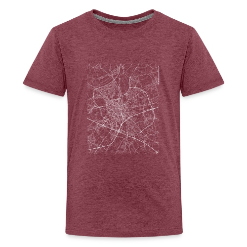 Minimal Ghent city map and streets - Teenage Premium T-Shirt