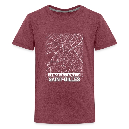 Straight Outta Saint-Gilles city map and streets - Teenage Premium T-Shirt