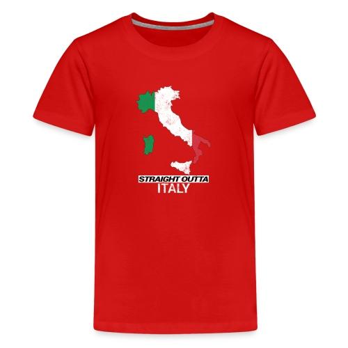 Straight Outta Italy (Italia) country map flag - Teenage Premium T-Shirt