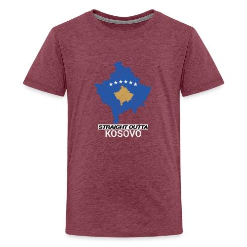 Straight Outta Kosovo country map - Teenage Premium T-Shirt