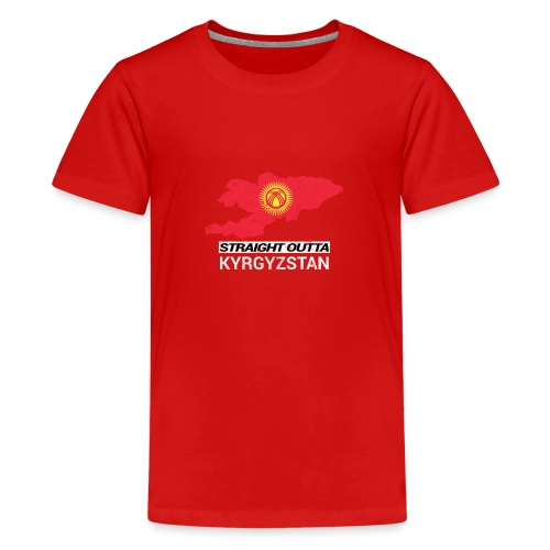 Straight Outta Kyrgyzstan country map - Teenage Premium T-Shirt