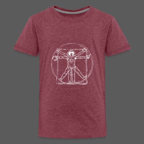 Vitruvian Gamer White Print - Teenager Premium T-Shirt