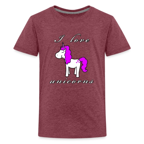 Einhorn schwarz - Teenager Premium T-Shirt