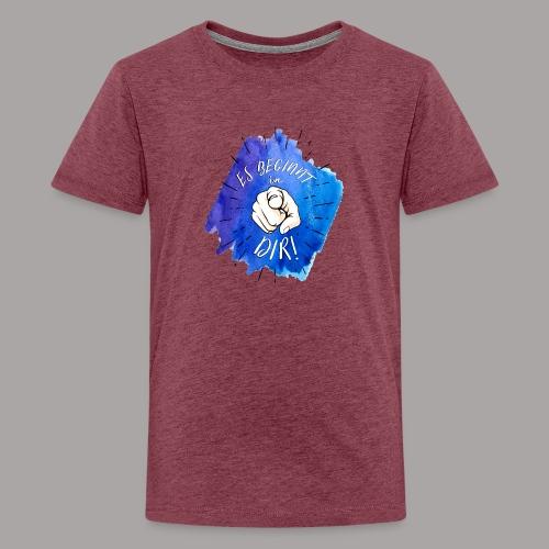shirt blau tshirt druck - Teenager Premium T-Shirt