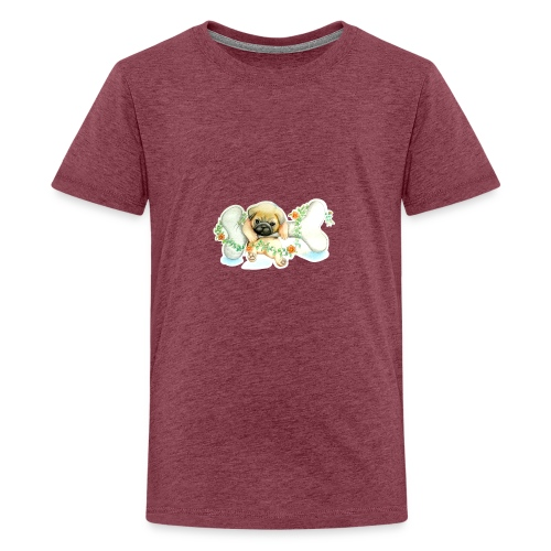 Mops knochen - Teenager Premium T-Shirt