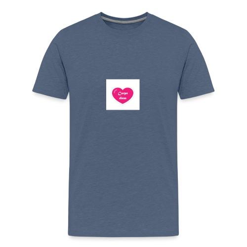 Spread shirt hjärta carpe diem vit text - Premium-T-shirt tonåring