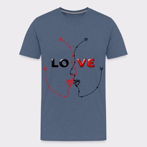 LOVE MINIMALISTIC LineART Valentinstaggeschenke - Teenager Premium T-Shirt