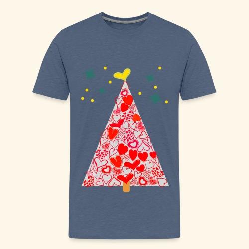 Christbaum der Herzen - Teenager Premium T-Shirt
