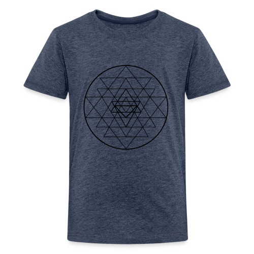 Sri Yantra - black and white - Teenager premium T-shirt