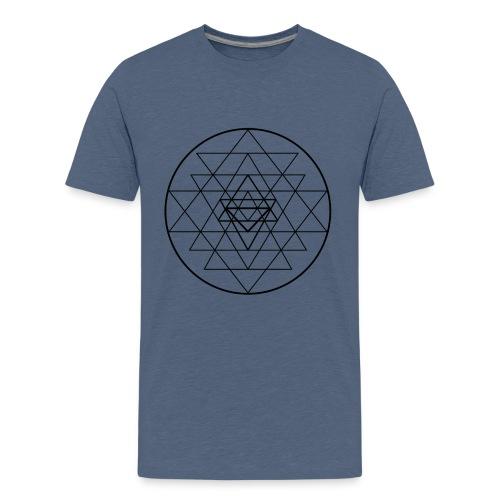 Sri Yantra - black and white - Teenager premium T-shirt