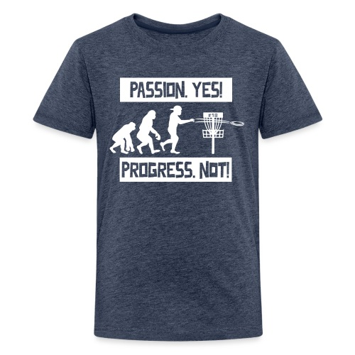 Disc golf - Passion, progress - White - Teinien premium t-paita