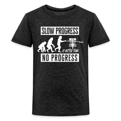 Disc golf - Slow progress - White - Teinien premium t-paita