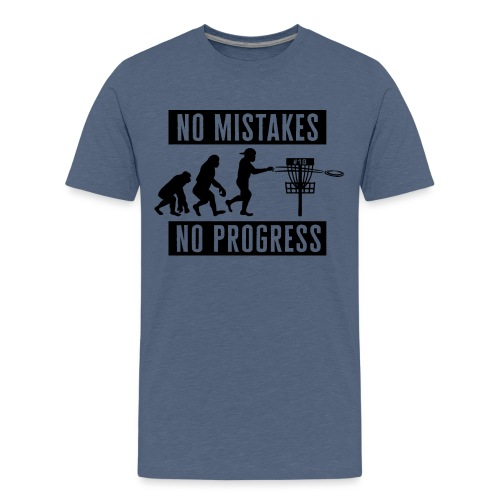 Disc golf - No mistakes, no progress - Black - Teinien premium t-paita