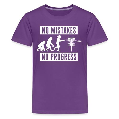 Disc golf - No mistakes, no progress - White - Teinien premium t-paita