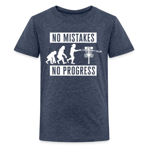 Disc golf - No mistakes, no progress - White - Teinien premium t-paita