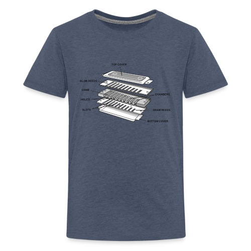 Exploded harmonica - black text - Teenage Premium T-Shirt