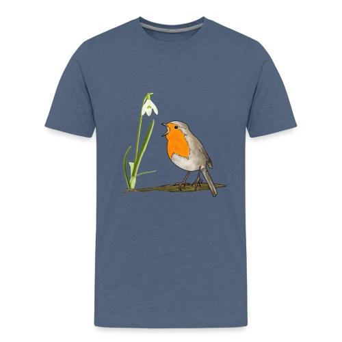 Frühling, Rotkehlchen, Schneeglöckchen - Teenager Premium T-Shirt