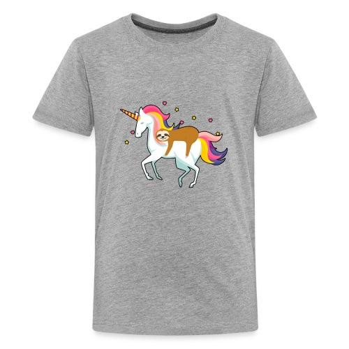Funny Sloth Riding Unicorn - Teenager Premium T-Shirt