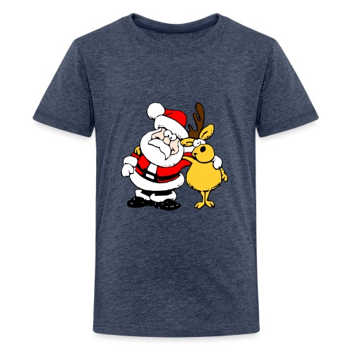 Santa and Reindeer - Teenage Premium T-Shirt