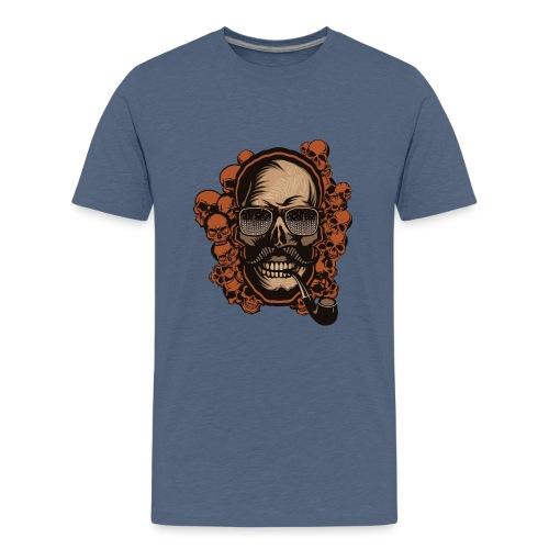 tete de mort hipster skull crane pipe moustache fa - T-shirt Premium Ado