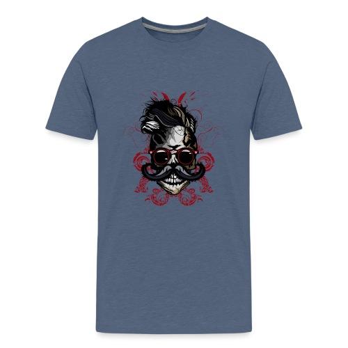 tete de mort hipster fioriture crane skull moustac - T-shirt Premium Ado