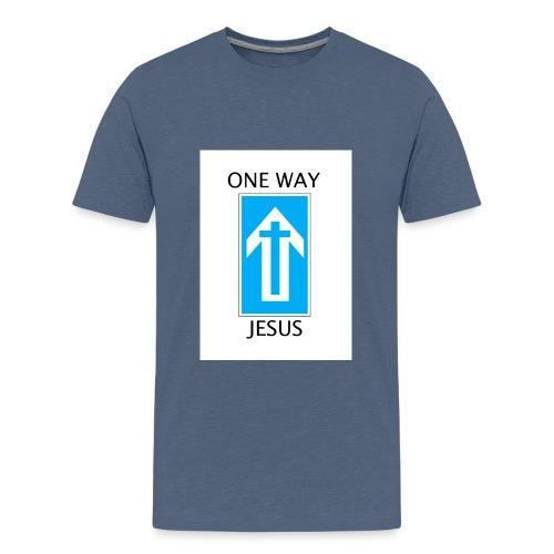One Way, Jesus - Teenage Premium T-Shirt
