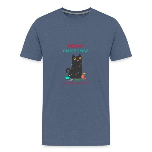 Meowy Christmas ad a Happy Purr year - Teenager Premium T-shirt