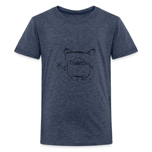 pig with the flower - Teenage Premium T-Shirt
