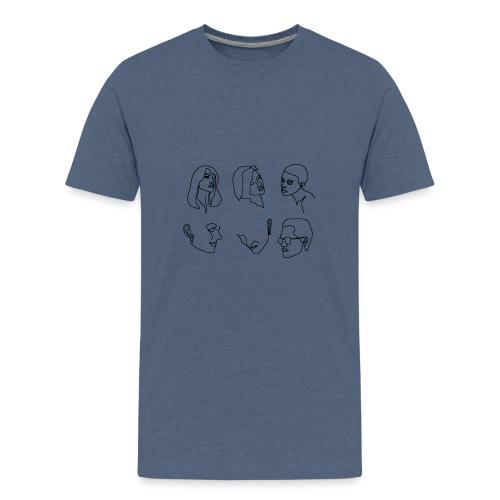 lineart gesichter - Teenager Premium T-Shirt