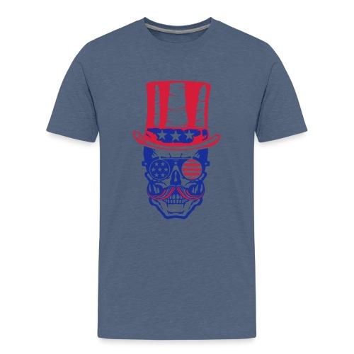 tete de mort hipster crane skull americaine chapea - T-shirt Premium Ado