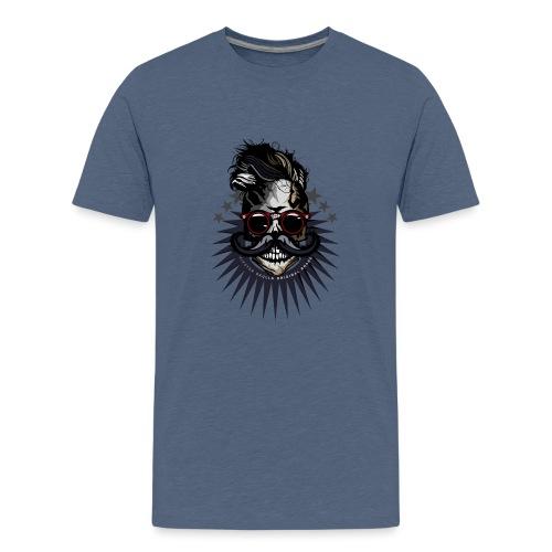 tete de mort hipster crane moustache skull logo lu - T-shirt Premium Ado