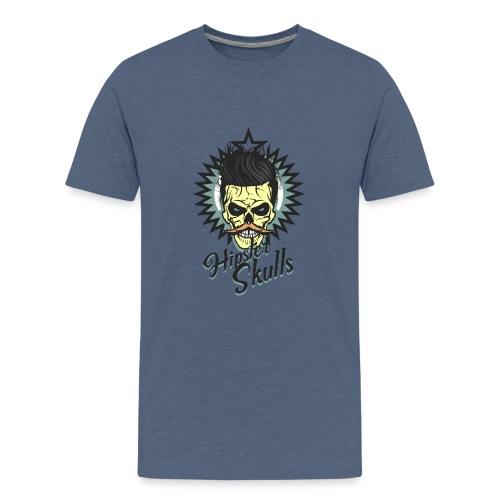 tete de mort hipster skull crane moustache logo co - T-shirt Premium Ado