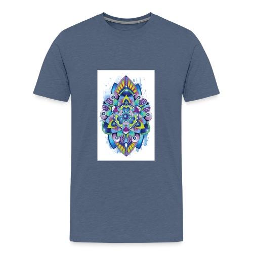 Zentangle watercolour Splash Mandala Design - Teenage Premium T-Shirt