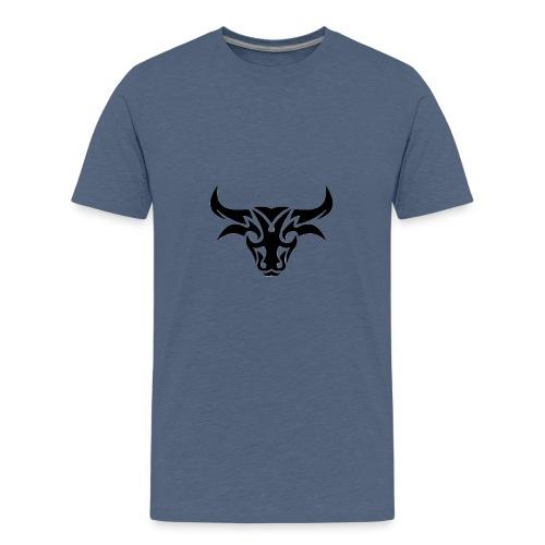 tribal bull burned png - Teenager premium T-shirt