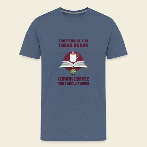 Buch und Kaffee, dunkel - Teenager Premium T-Shirt