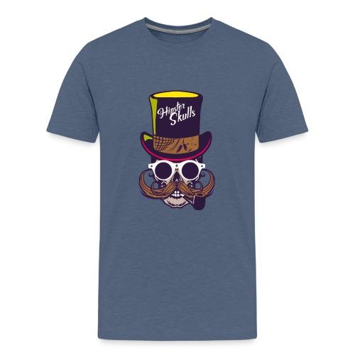 tete de mort crane skull moustache logo pipe lunet - T-shirt Premium Ado