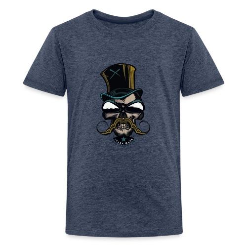 tete de mort hipster crane logo skull moustachu m - T-shirt Premium Ado