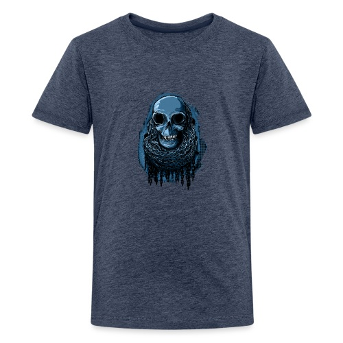 SKULL in CHAINS - deepBlue - Teenage Premium T-Shirt