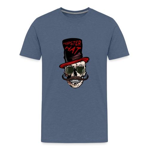 tete de mort hipster hat citation moustache crane - T-shirt Premium Ado