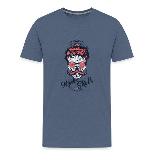 tete de mort crane hipster logo coiffure skull fan - T-shirt Premium Ado