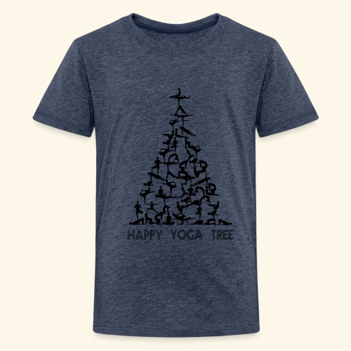 Happy Yoga Christmas Tree - Teenager Premium T-Shirt