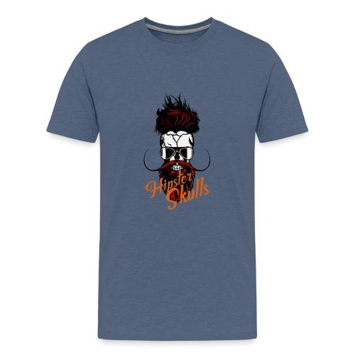 tete de mort hipster skull logo crane barbu barbe - T-shirt Premium Ado