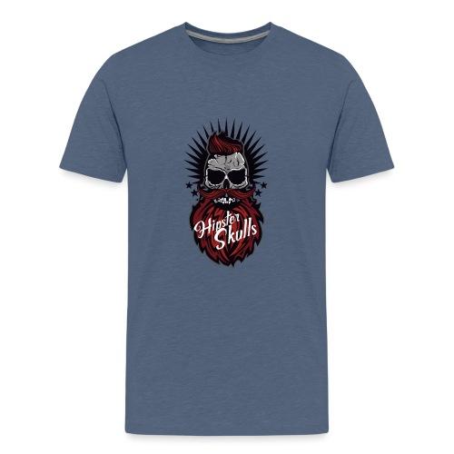 tete de mort hipster skull moustache barbe logo ba - T-shirt Premium Ado