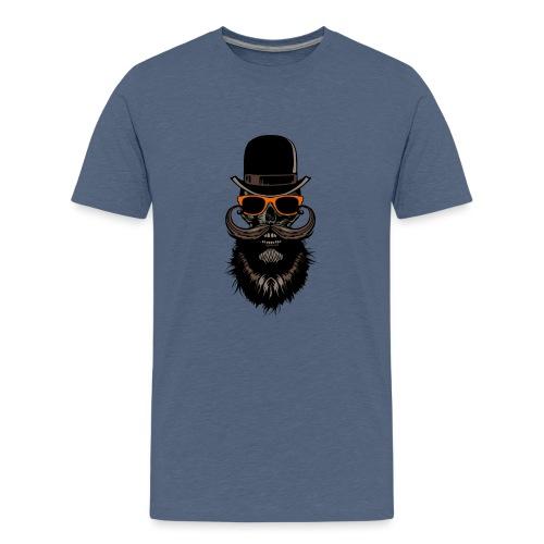 tete de mort crane hipster skull chapeau melon lun - T-shirt Premium Ado
