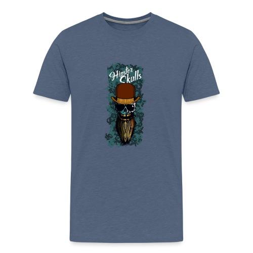tete de mort hipster skull barbu chapeau melon cra - T-shirt Premium Ado