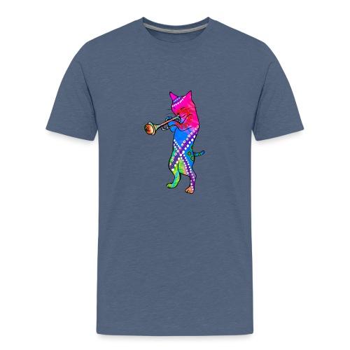 Jazz Cat plays the Trumpet - Teenage Premium T-Shirt