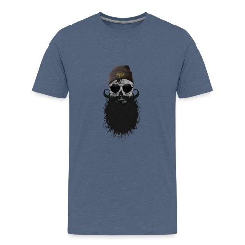hipster skulls tete de mort crane bonnet moustache - T-shirt Premium Ado